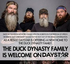 """Daystar Offers a New Home to Duck Dynasty Family - Daystar Television - """"My wife, Joni, and I are standing with Mr. Phil Robertson of """"Duck Dynasty"""" for family values & biblical values,"""" says Marcus Lamb.""""Our American constitution guarantees its citizens freedom of speech & freedom of religion. As a result, Daystar Television Network is offering a primetime slot to """"Duck Dynasty."""""""