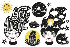 Awesome Funny Big Set by julymilks on @creativemarket