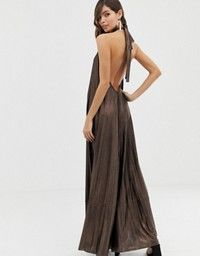 5ffd7186b52 DESIGN halter trapeze pleated maxi dress with ring detail