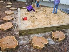 let the children play: just add stones, logs, stumps and mounds. - tree cookies