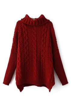 Wine Red High Collar Batwing Sleeves Sweater