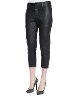 IN LOVE! A great modern take on leather pants! ALICE + OLIVIA Anders Cropped Leather Ponte Pants