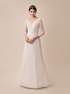 Moonlight Tango T789 Casual A-line Boho Wedding Dress with Sleeves