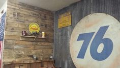 Garage walls//pallet wood and old barn tin