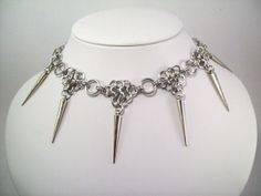 spike necklace chainmaille choker  Sexy by Eternalelfcreations, $25.00