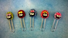 polymer clay ladybug paperclip bookmarks
