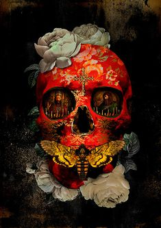 Dark Silence In Suburbia — André Sanchez [& & &] Dark Fantasy Art, Dark Art, Fantasy Town, Sugar Skull Artwork, Badass Skulls, Skull Pictures, Skull Illustration, Skull Wallpaper, Day Of The Dead Skull