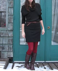 "red tights - a go to outfit during the ""colder"" months."