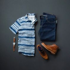 Men'S casual fashion, button down, henley, denim, leather boots & leather watch Mode Masculine, Denim Fashion, Fashion Outfits, Fashion Fall, Fashion Shirts, Fashion Ideas, Fashion Men, Fashion Styles, Trendy Outfits