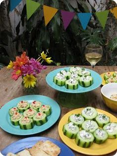 Cucumber Appetizers...thick slices, scoop out part of the middle and fill with dip or chicken salad or something