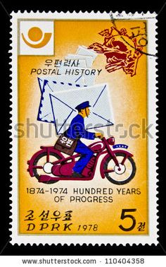 KOREA 1978: A stamp printed in North Korea shows postman on motorcycle,