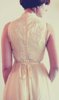 Lee ~ Victorian inspired chiffon wedding gown with French lace and pearl beading by Trang Chau.