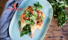 Beautiful Butterfield Roast Chicken with Smoked Tomato Salsa cooking on a Weber Q by chef Justine Schofield. Chicken Skin, Roast Chicken, Kalamata Olives, Red Chilli, Stuffed Whole Chicken, Poultry, Salsa, Chicken Recipes, Bbq