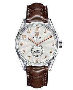 TAG Heuer Watch, Men's Swiss Automatic Carrera Calibre 6 Brown Alligator Leather Strap 39mm WAS2112.FC6181 - All Watches - Jewelry & Watches - Macy's #men'sjewelry