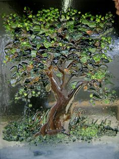 """Fused Glass """"Tree of Life"""" Panel 