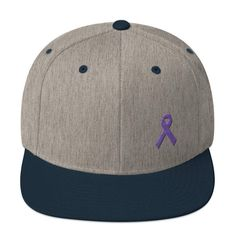88c2742ba5898 Cancer and Alzheimer s Awareness Flat Brim Snapback Hat with Purple Ribbon
