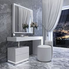Everly Quinn Loughran Vanity Set with Stool and Mirror Color: High Gloss Makeup Room Decor, Dressing Table Design, Hall Bathroom, Master Bedroom Design, Bathroom Interior Design, How To Look Classy, Vanity Set, Strip Lighting, Tumblr Rooms