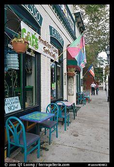 Cafe and sidewalk. Carson City, Nevada, USA
