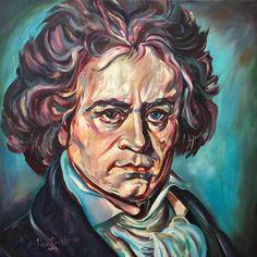 Discover and buy, original art paintings. Ludwig van Beethoven. Portrait by artist Nino Ponditerra, oil on canvas