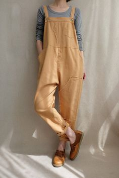 Overalls women - Women Leisure Cotton Dungarees Linen Overalls, Summer Cotton Jumpsuits Pants Loose Bib Overalls Wide Leg Pants With Pockets Indie Outfits, Trendy Outfits, Cute Outfits, Fashion Outfits, Summer Outfits, Grunge Outfits, Fashion 2017, Hijab Fashion, Overalls Outfit