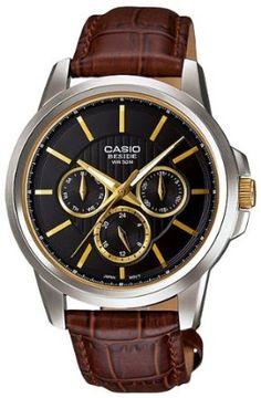 Casio Mens BEM307BL-1A2V Brown Leather Quartz Watch with Black Dial