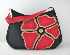 Hobo Bag Purse in Navy Blue Denim with Large Red Felt by bluecalla Cowhide Leather, Red Leather, Blue Denim, Navy Blue, Red Felt, Hobo Bag, Purses And Bags, Shoulder Strap, Coin Purse