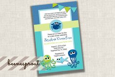 Sea Creatures Baby Shower Invitation by beenesprout on Etsy
