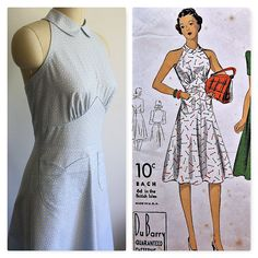 1940's Vintage Reproductions Dress Midriff Waist by SewDecadesAgo