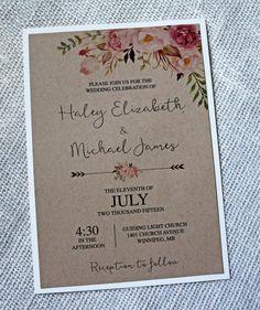 Rustic Lace Wedding Invitation Floral Wedding by LoveofCreating