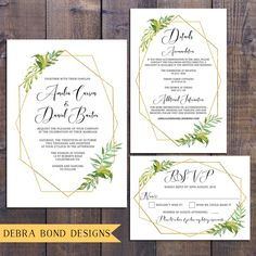 Wedding suite, wedding invitation, geometric invitation, gold, botanical, leaves, details information card, RSVP card, digital printable