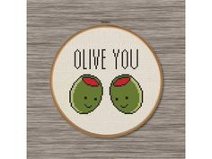 """PDF Cross Stitch Pattern: """"Olive You"""" Cute and Funny Love Pun by DJStitches on Etsy"""