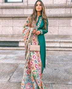 Add a chic and sophisticated spin to your ethnic style this festive season. Take a cue from who looks resplendent in a deep-… Pakistani Dress Design, Pakistani Outfits, Indian Attire, Indian Ethnic Wear, Ethnic Style, Ethnic Outfits, Indian Outfits, Traditional Fashion, Traditional Outfits