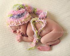 Newborn Baby Hat, Knit Baby Hat, Stocking Hat, Pixie Hat, Knit Photo Prop, Pink Green Hat