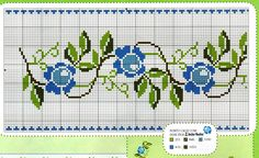 This Pin was discovered by Öze Cross Stitch Borders, Cross Stitch Rose, Cross Stitch Flowers, Cross Stitch Designs, Cross Stitching, Cross Stitch Patterns, Filet Crochet Charts, Crochet Stitches Patterns, Rose Embroidery