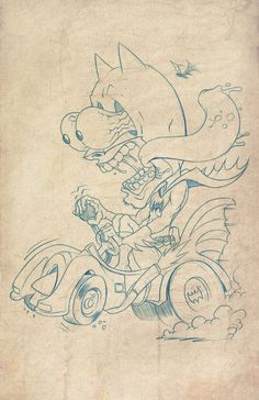 Zombie Drawings, Dark Art Drawings, Batman Drawing, Batman Art, Kraken Art, Ed Roth Art, Art Business Cards, Graffiti Cartoons, Sketch Tattoo Design
