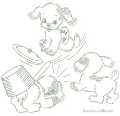 Part 1 of 6 - Playful Puppy Motifs - Superior threads vintage iron-on transfer for embroidery or coloring. BuzzinBumble