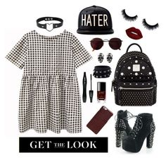 """""""Pretty girl rock"""" by ayukatz ❤ liked on Polyvore featuring MCM, Lime Crime, Valentino, Chanel, Maison Margiela, Ray-Ban, Lancôme, rockerchic, rockerstyle and oontood"""