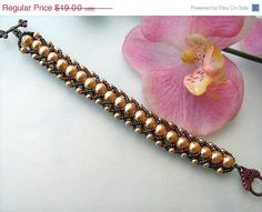 Beadwoven Bracelet. Glass Pearls and  czech seed by NMNHANDMADE, $15.20