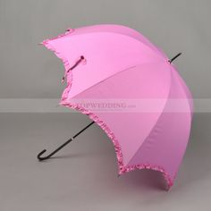 Rose Red Dotted Nylon Wedding Umbrella