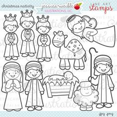 Kerst Nativity leuke kerst digitale postzegels door JWIllustrations