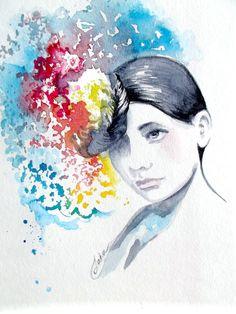 Modern Watercolor Portrait - Original Watercolor Fashion Illustration