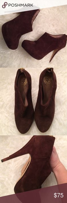 Gorgeous Vince Camuto Booties In like new condition these super soft seude brown Booties are a fall and winter must! Zips shut in back. Size 7.5 Vince Camuto Shoes Ankle Boots & Booties
