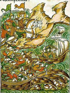 Невская битва. Бегство шведов на корабли  - Миниатюры Лицевого летописного свода. 16 век