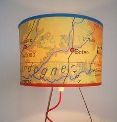 Abat jour OU lampe carte ancienne scolaire regions et villes