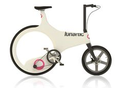 Lunartic bike designed by Luke Douglas featuring a toothless belt drive and hubless rear wheel.