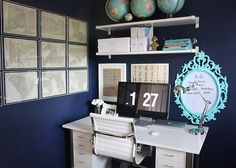 LaaaaaLove this color combo. Navy walls are Behr, Peaceful Night