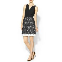 Buy 4 Collective Fitted Lace Skirt Dress Black white multi Cheap - 4 collective Fitted Lace Skirt Dress Sleeveless styling Split crew neckline Solid black fitted bodice A line skirt with lace overlay...