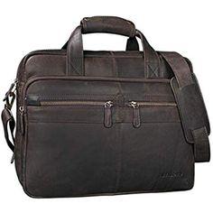 handolederco 38,1/cm Vintage Aktentasche Leder Schulter Messenger Laptop Tasche f/ür Herren und Damen
