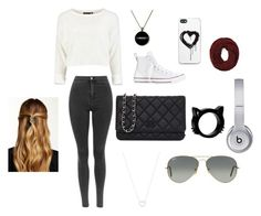 """""""day out and about"""" by emmyjoe222 ❤ liked on Polyvore featuring Converse, Chanel, Tiffany & Co., Zero Gravity, Ray-Ban, Natasha Accessories, Beats by Dr. Dre and Forever 21"""