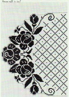 Low interest rate home loans for interior design (Pattern) – Crochet Filet Cross Stitch Rose, Cross Stitch Borders, Cross Stitch Flowers, Cross Stitch Designs, Cross Stitching, Cross Stitch Embroidery, Cross Stitch Patterns, Filet Crochet Charts, Crochet Borders